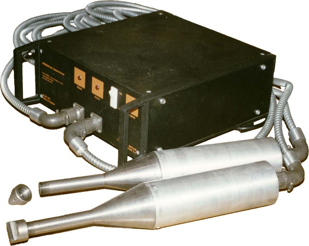 Ультразвуковая импульсная установка ИЛ-2, генератор в приборном корпусе на два ультразвуковых преобразователя, очистка и предотвращение отложений накипи.