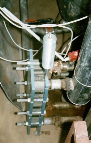 Ультразвуковая установка И-1М на разборном пластинчатом теплообменнике.